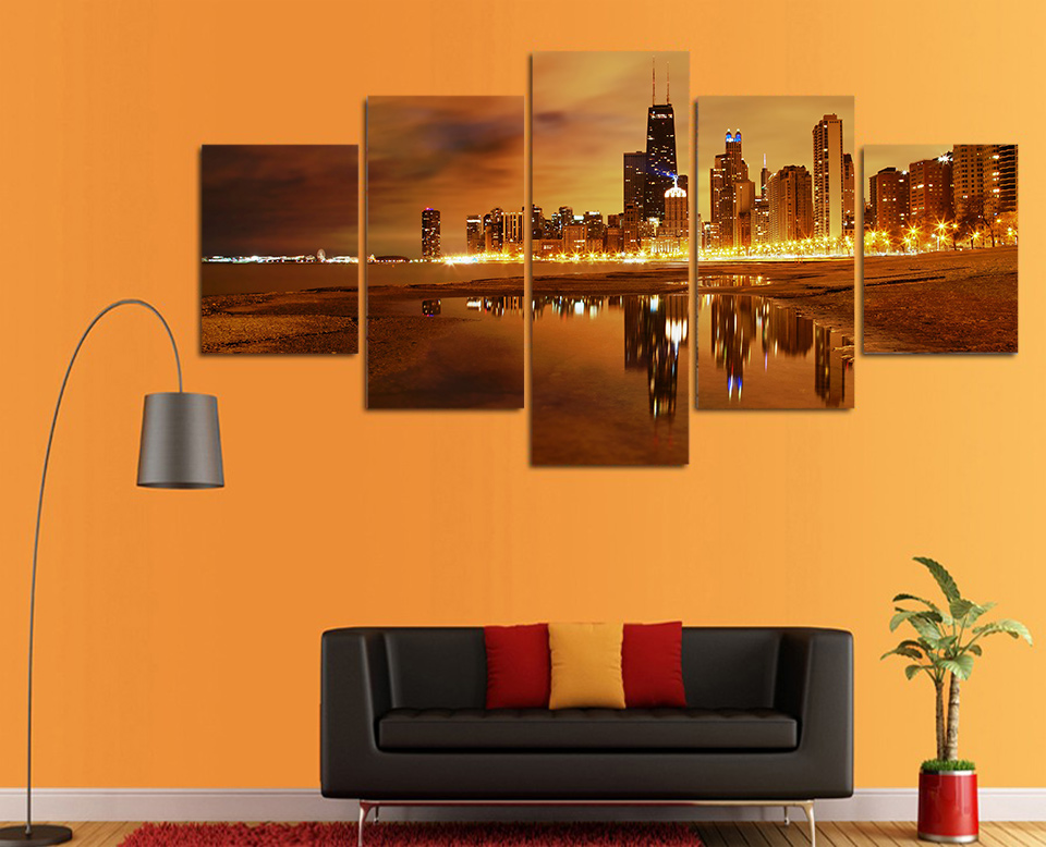 Painting Abstract Art Wall Picture For Living Room Home Decoration Canvas Prints 5 Panel City At Night Landscape Framework YGYT
