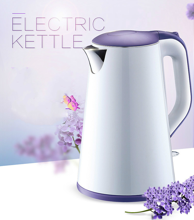 Electric kettle 304 stainless steel double layer 1.7 litre kettles Safety Auto-Off Function цена и фото