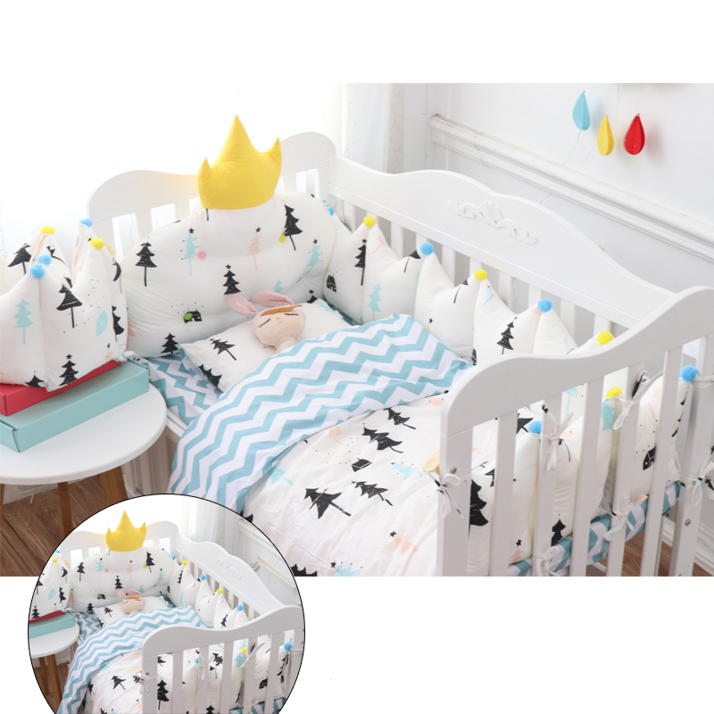 Nordic Style Baby Bedding Set Crown Design Baby Bed Set Cot Include Thicken Protect Bumpers Bed Sheet Quilt Pillow with Filling 7 pcs set ins hot crown design crib bedding set kawaii thick bumpers for baby cot around include bed bumper sheet quilt pillow