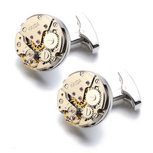 Men's Steampunk Style Cufflinks with Clock Gears Themed Pattern