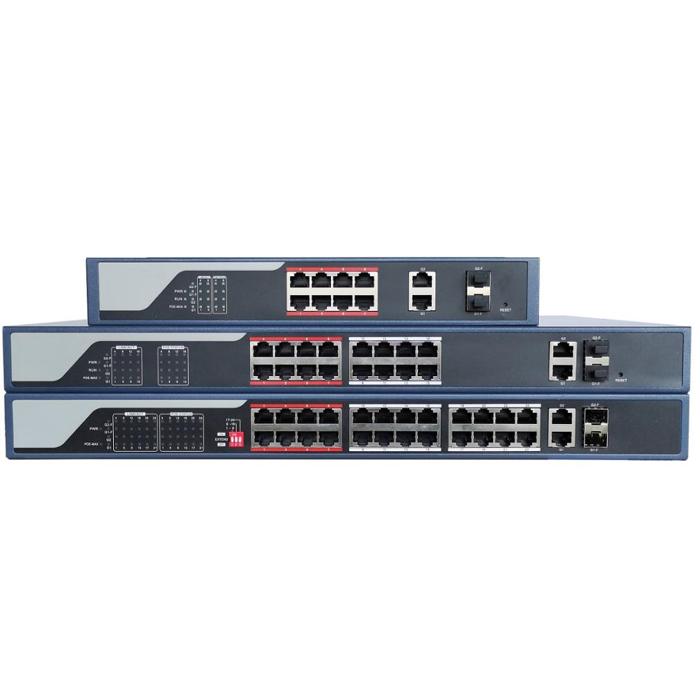 HIK With Logo 8CH 16CH 24CH Web-managed PoE Network Switch, 802.3af/at PoE Standard, VLAN Configurable,2 Multiplex 1000M SFP