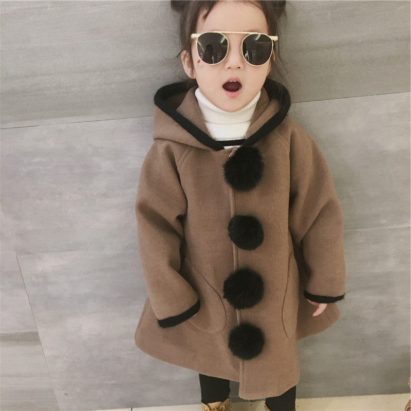 Girl Winter Jackets Cute Hooded Pompoms Coats Baby Girl Woolen Coat Children Clothing Kids Velvet Warm Outwear Christmas Costume brand children coat jackets stripe cute rabbit ears hooded wool coats for girl kids double breasted woolen jacket infant outwear