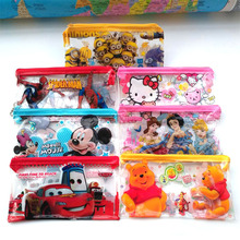 2 pcs lot Cartoon Minion Hello kitty school pencil case for kids Cute car PVC pen