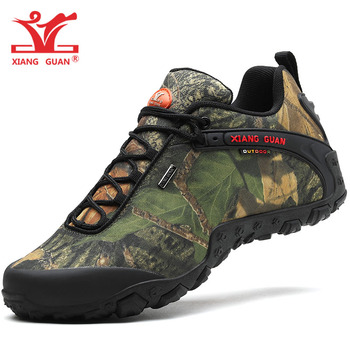 XIANG GUAN Man Hiking Shoes Men Waterproof Trekking Boots Black Camouflage Sport Mountain Climbing Shoe Outdoor Walking Sneakers