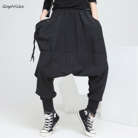 Cross pants spring 2018 Women Black Hip Hop Punk Trouser Oversize baggy Pant Harem Pants Plaid Women Clothing england LT658S30