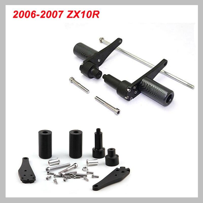 No Cut Frame Slider Protector For 2006 2007 Kawasaki Zx10R Zx-10R Zx 10R Black