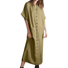 Womens summer pregnant dress Short Sleeve Linen Dress Loose With Pocket Buttoned Party Sundress Button Dresses #811(China)