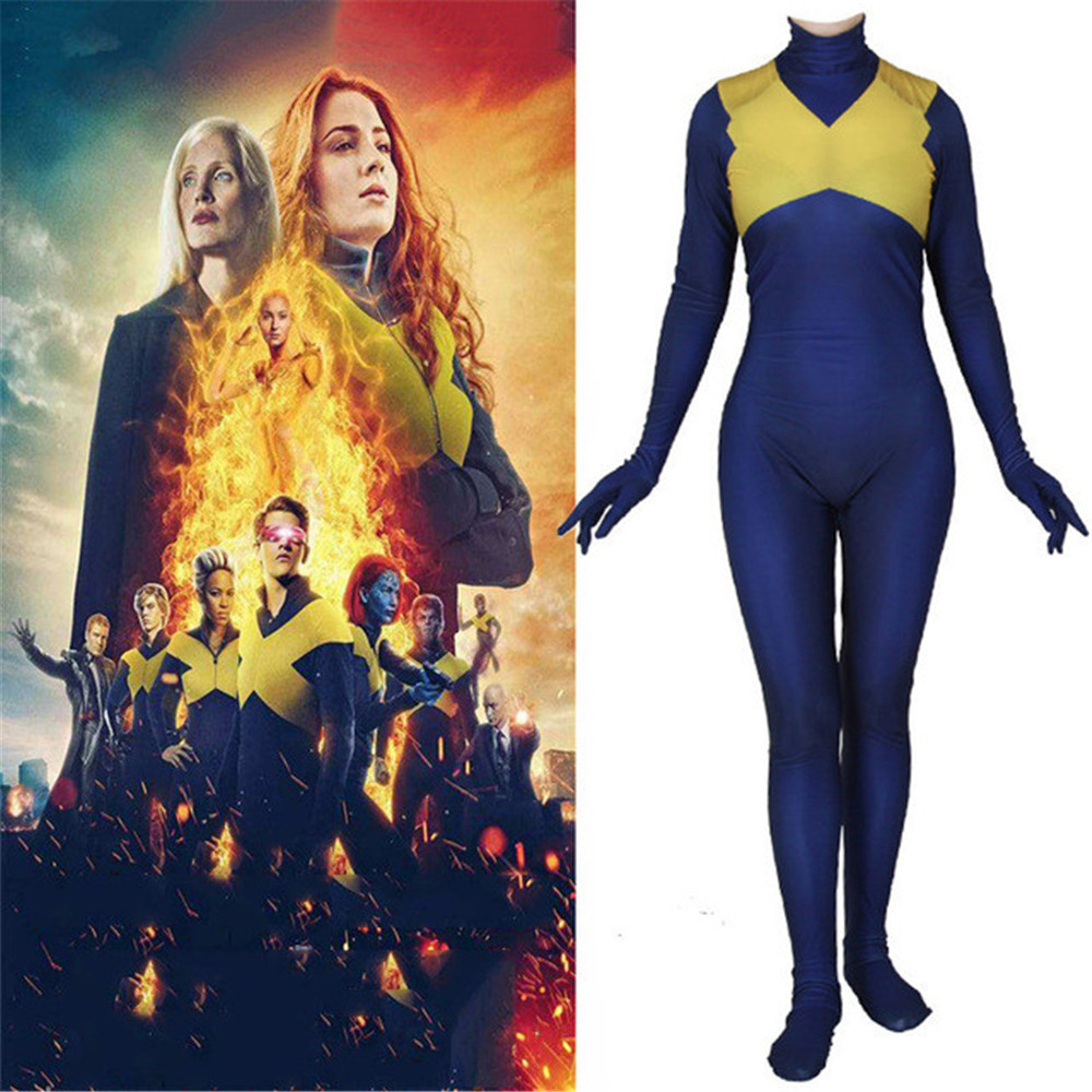 X-Men: Dark Phoenix Jean Grey Cosplay Costumes Kids Adult Zentai Bodysuit Suit Jumpsuits Halloween Party Costumes for Men Women