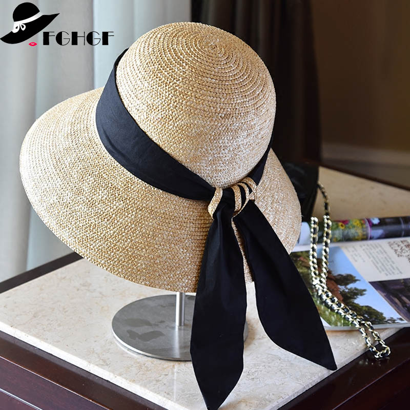 5fafdd20589 FGHGF Wide Brim Cloche Straw Hat for Women UPF50 Sun Hat Black Ribbon Knot  Wide Brim Woven Bucket Hat Summer Beach Cap Derby Hat