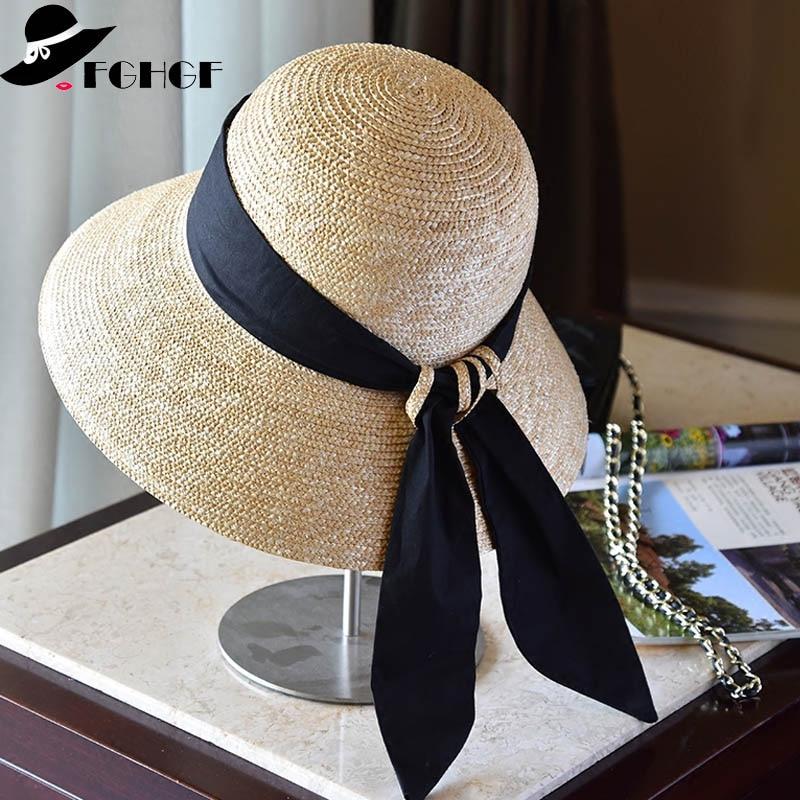 Wide Brim Cloche Straw Hat For Women UPF50 Sun Hat Black Ribbon Knot Wide Brim Woven Bucket Hat Summer Beach Cap Derby Hat