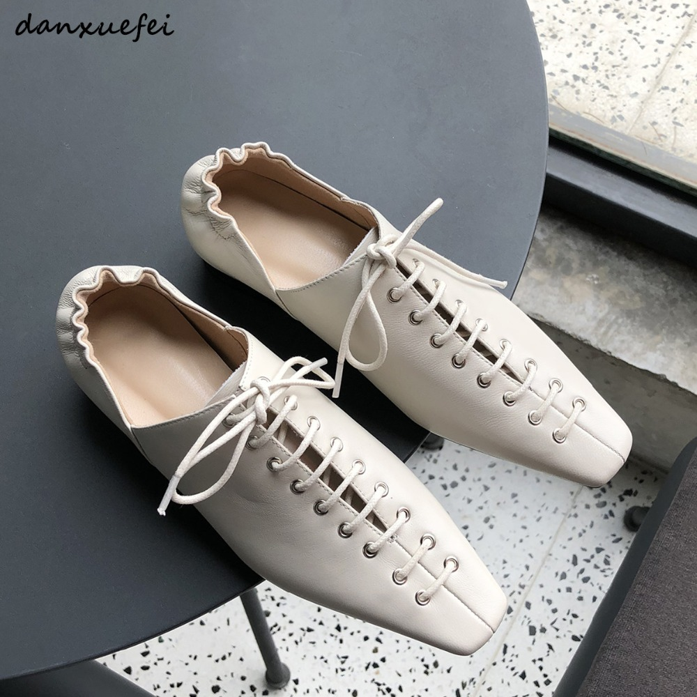 Women's genuine leather cross strap lace-up flats oxfords brand designer square toe leisure spring new female footwear shoes hot