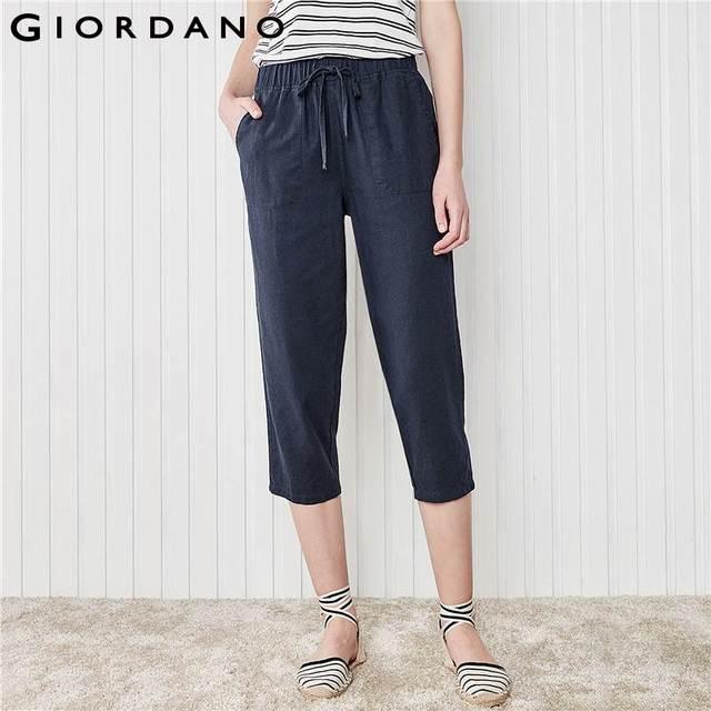 Giordano Femmes Lin Coton Pantalon Coupe Droite Femmes Pantalon Cheville  Longueur Pantalons Pour Femmes Pantalon Femme 868676e27681