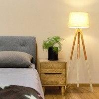 LukLoy Nordic Modern Minimalist Floor Lamp Living Room Bedroom Study Hotel Guest Room Creative Solid Wood Fabric Floor Light