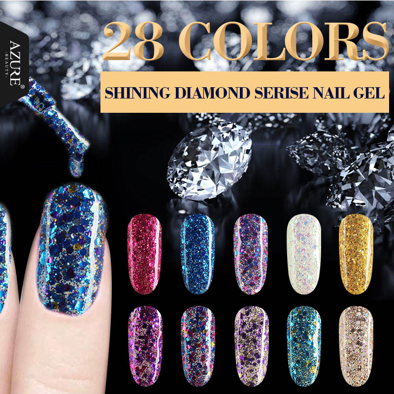 AZURE BEAUTY UV Gel Nail Polish 28 Colors For Nail Art Salon Gel Varnish Nail Glue 7ml Enamel Soak Off Azure Nail Gel Glue