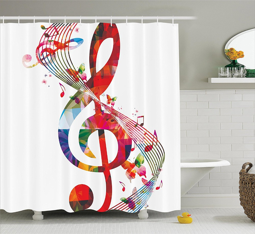 Music bathroom set - Shower Curtain Artwork With Music Notes Colors Fantasy Printing Waterproof Mildewproof Polyester Fabric Bath Curtain Set