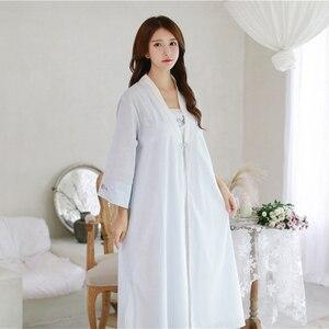 Image 1 - Robe Nightgown Girl Women Sleepwear Embroidery Long Robe Chinese retro style Robe Set