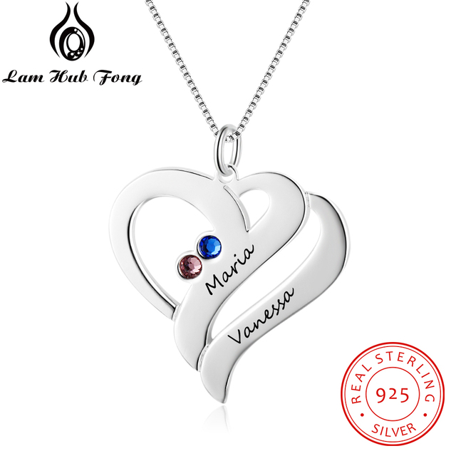 Personalized Necklaces 925 Sterling Silver Heart Shape Pendants Engrave Name Necklaces Birthstone DIY Mothers Day Gift