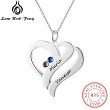 Spersonalizowane naszyjniki 925 srebro serce kształt wisiorki naszyjniki z wygrawerowanym imieniem Birthstone DIY prezent na dzień matki