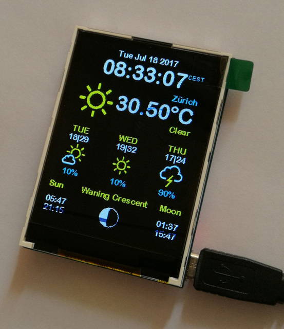 Esp8266 weather station color 240x320 display wunderground open source github AZSMZ TFT TOUCH