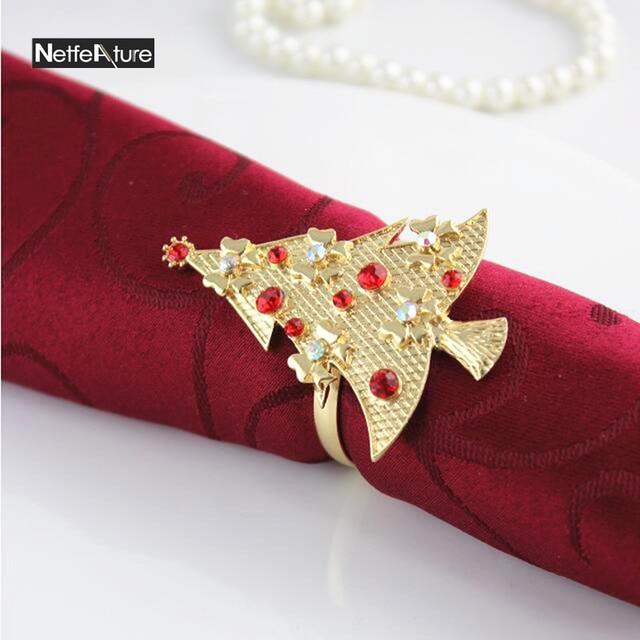 6pcs Lot Gold Silver Christmas Tree Pattern Napkin Ring Rhinestone