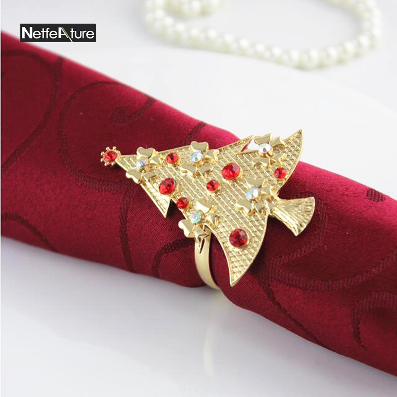 6Pcs/lot Gold/Silver Christmas Tree Pattern Napkin Ring Rhinestone Metal Tablecloth Buckle Home Restaurant Table Decoration Ring
