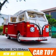 Лепин 21001 с светодио дный свет техники автомобиль строительные блоки, совместимые Legoing 10220 кирпича игрушки для детей Volkswagen T1 Camper 21003