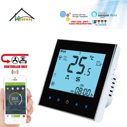 HESSWAY 2 pipes 4pipes cooling/heating touch screen digital FCU thermostat WIFI APP  for TUYA Voice chip