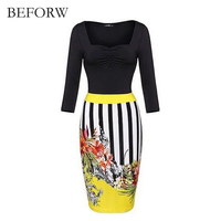 BEFORW 2017 Office Style Women Dress Fashion Vintage Printing Party Dresses Autumn Long Sleeves Dress Stripe