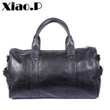 Купить с кэшбэком New high quality PU leather men's travel bags fashion bucket handbags shoulder bag big volume men business luggage bag
