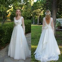 Fashion Sexy Design A Line Court Train Organza Long Sleeve Wedding Dresses With Appliques Bow Back