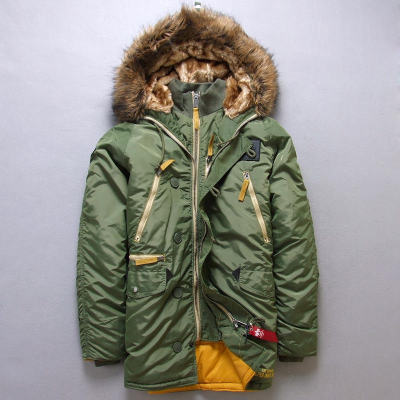 N3B Men's Polar Winter clothes N-3B amry USA Flying Parka warm Long Jacket Hooded zipper fur collar Cotton clothing Thick coat