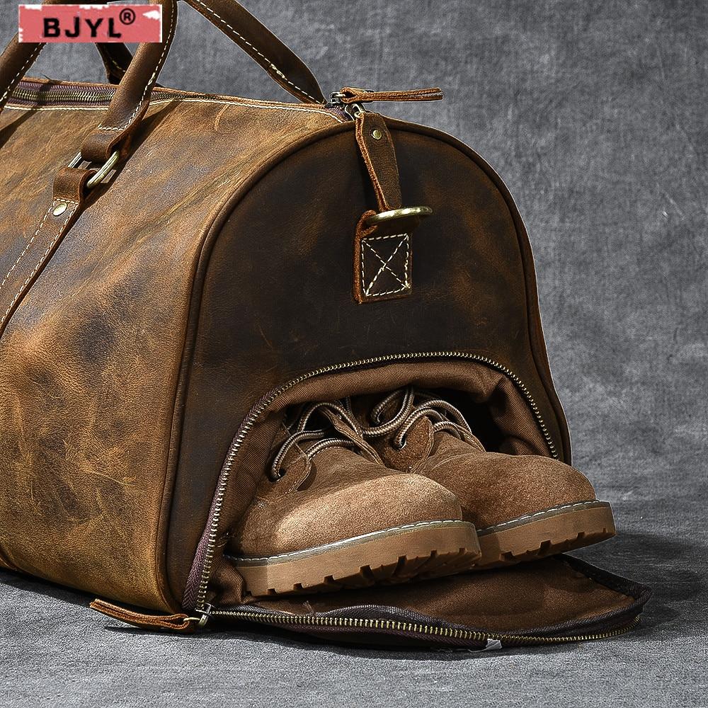 3e417eb249dc BJYL ретро большой емкости мужские сумки crazy horse кожаная дорожная сумка  из натуральной кожи Наплечная Сумка