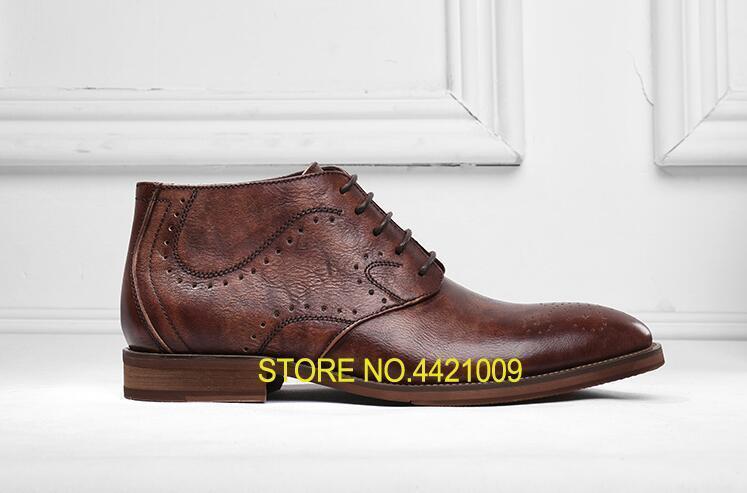 Botas Genuino Zapatos Brown Owoq6ru Los Vestido Tallados Encaje Cuero De D9WE2YeHI