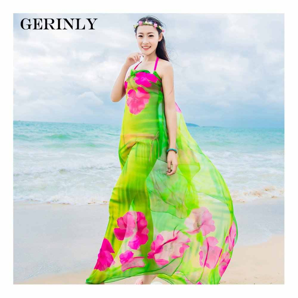 b060159bd6 GERINLY Sarong Beach Pareo Hibiscus Print Chiffon Scarf Hawaiian Dresses  Sexy Women Bikini Cover Up Wrap