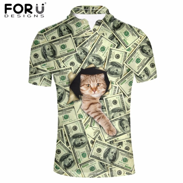 252547b826 FORUDESIGNS Polo Shirt Men Clothing Summer Tops Tees Button Peacock Mens  Dollar Cat Printed Army Green Short Sleeve News Arrival