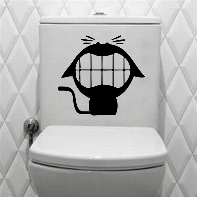 Grappige cartoon lachende kat wc zwart vinyl decals voor hotels ...