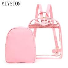 New 2 Pcs/set Women Backpack for Teenage Girls Transparent PVC Composite Bag Ladies Beach Shopping Mochilas Sac A Dos