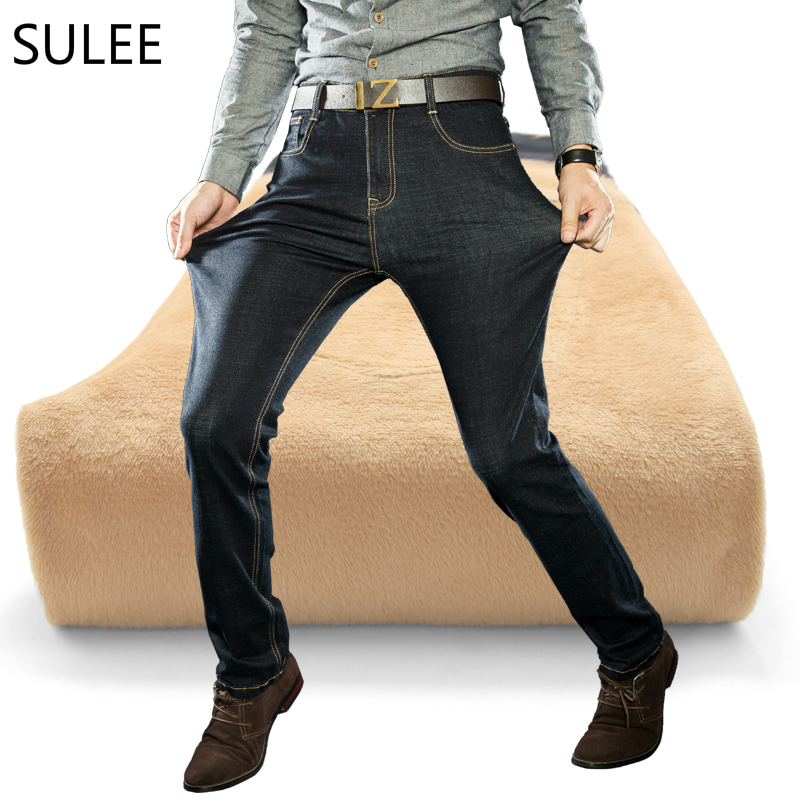 SULEE Brand 2017 Winter Warm Jeans Man Classic Style Fashion Plush Thick Business Casual Jeans Brand Men's Trousers Size 28-40