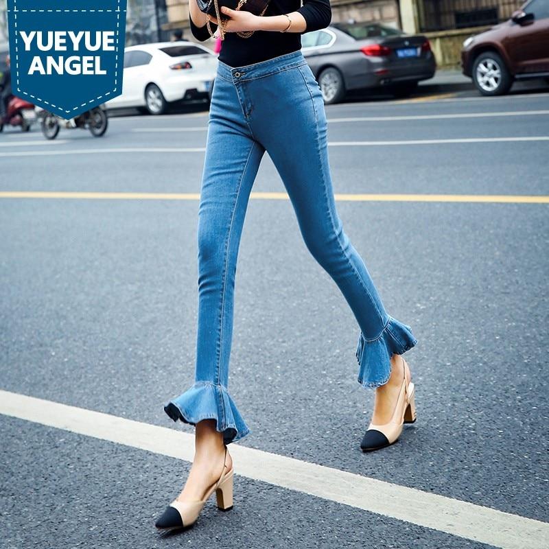 US $56.94 46% OFF|Autumn Winter Women Fashion Ruffles Flared Jeans Boot Cut Bell Bottom Jeans Denim Female Trousers Cute Flare Slim Denim Pants in