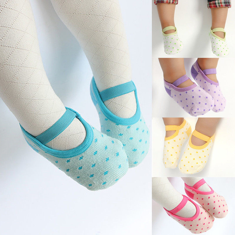 5 Colors 1 pair Cute Toddler Anti Slip Socks Infant Baby Non Skid Cotton Socks 12-24 Months soumit 5 colors professional yoga socks insoles ballet non slip five finger toe sport pilates massaging socks insole for women