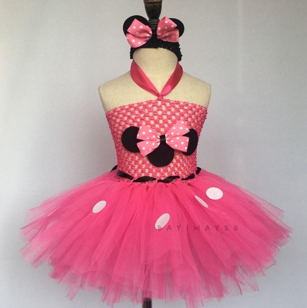 Girl Minnie Costume Birthday Dress Pink White Polka Dot Tulle Tutu Lined Skirt