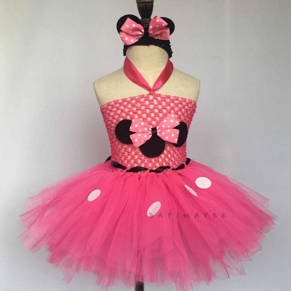 f628a57b9b1a7 Cute Girls Pink Minnie Cartoon Dress Baby Crochet Tulle Tutu Dress with  White Dots and Headband Kids Party Cosplay Costume Dress