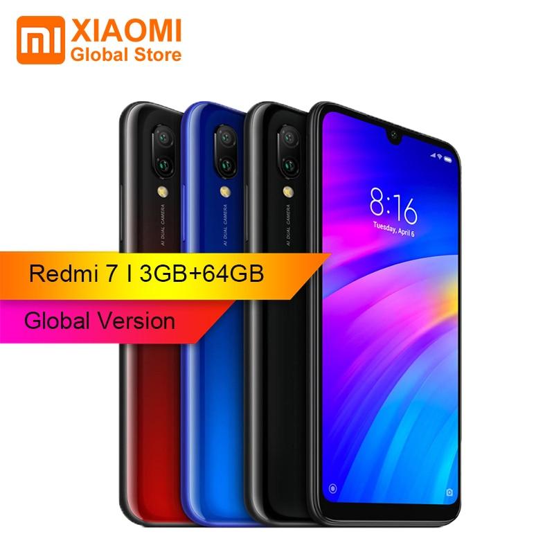 Version globale Xiaomi Redmi 7 3 GB RAM 64 GB ROM Snapdragon 6.26 pouces double caméra arrière 632 Octa core 4G nouveau Smartphone en Stock