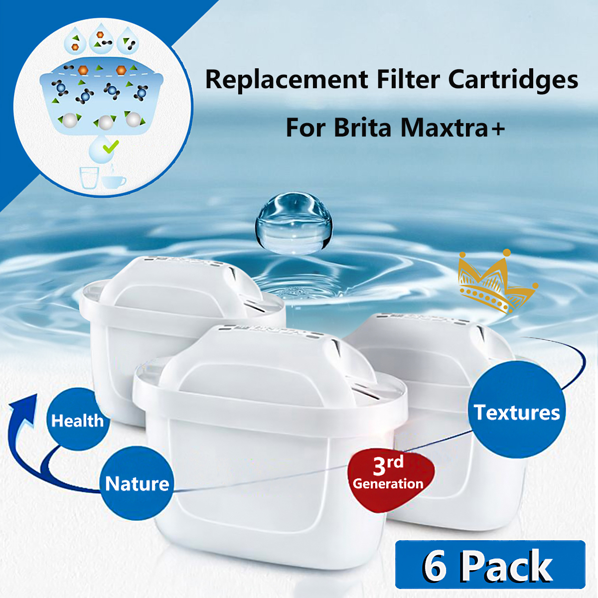 6Pcs Replacement Water Jug Filter Cartridges Refills For Brita Maxtra Plus Newly Activated Carbon Handle Design