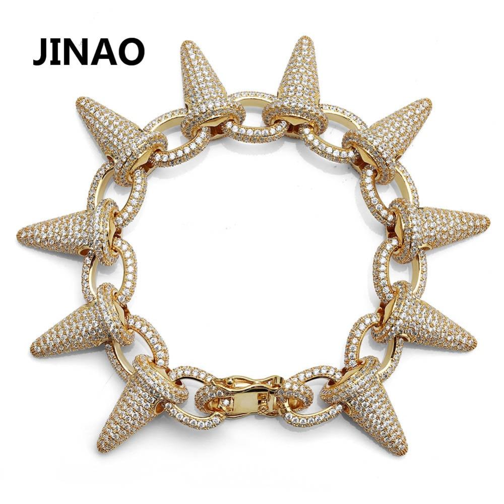 Luxe Punk mode Rock glacé Rivet pointes manchette Bracelets Bling cubique Zircon Hip Hop or argent cadeaux pour hommes femmes