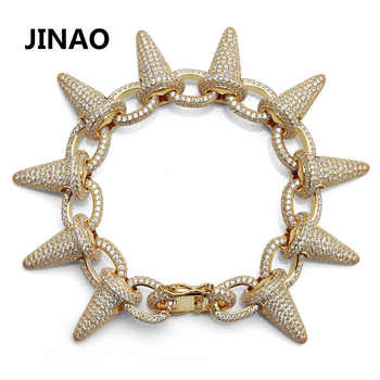 Luxury Punk Fashion Rock Iced Out Rivet Spikes Cuff Bangles Bracelets Bling Cubic Zircon Hip Hop Gifts for Men Women - Category 🛒 All Category