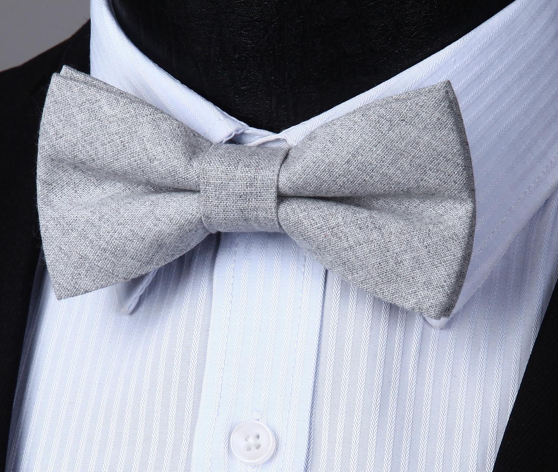 Adjustable Solid Cotton Formal Bowtie Men Butterfly Wedding Party Bowtie Pre-tied Bow Tie