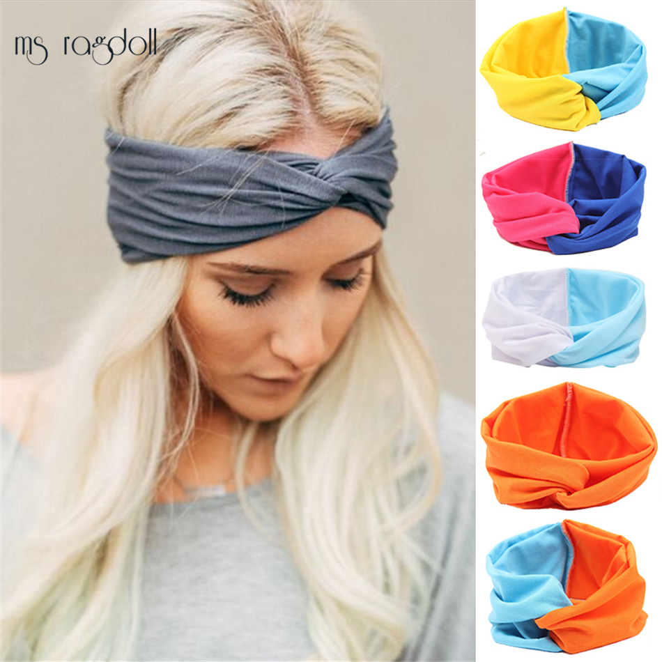 Patchwork Turban Headbands for Women Twist Stretch Hairbands Sport Headband Yoga Headwrap Head Band Bandana Yoga A Wide Headband