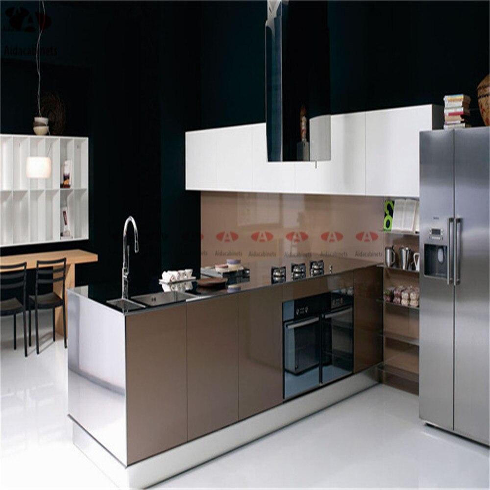 Alto brillo vino tinto cocina de acero inoxidable gabinete con ...
