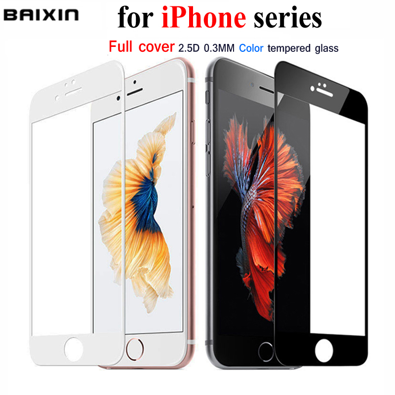 Baixin Full Cover Premium Tempered Glass for iPhone 7 5 5s se 6 s 6Plus 6S 7 Plus Glass Screen Protector Cover Case 6s plus Film